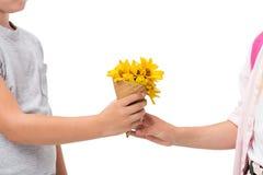 tir cultivé de petits enfants mignons tenant le cône de gaufre avec les fleurs jaunes d'isolement sur le blanc Image libre de droits