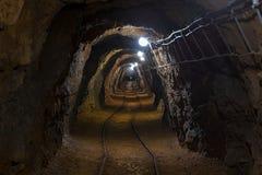 Tir d'angle de passage de mine souterraine Images libres de droits