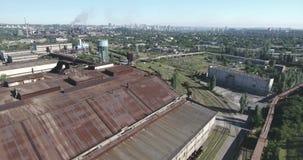 Tir d'antenne d'usine de métallurgie banque de vidéos