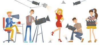 Tir d'un film ou d'une émission de TV Un directeur avec un haut-parleur, cameraman et une actrice ou un modèle Illustration de ve illustration libre de droits