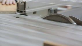 Tir d'une planche en bois étant coupée sur une scie circulaire banque de vidéos