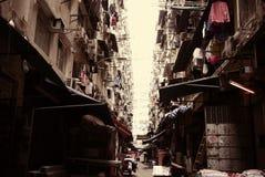 Tir de bâtiment du ` s de Hong Kong vieux A photographié les vieux bâtiments de la feinte Shui PO en Kim Shin Lane, Cheung Sha Wa Photographie stock libre de droits
