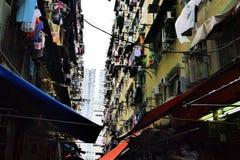 Tir de bâtiment du ` s de Hong Kong vieux A photographié les vieux bâtiments de la feinte Shui PO en Kim Shin Lane, Cheung Sha Wa Images stock