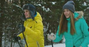 Tir de mouvement lent d'un ski affectueux de couples dans les bois à la veille de la Saint-Valentin banque de vidéos