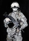 Tir de studio d'artilleur de machine de marines des Etats-Unis Image libre de droits