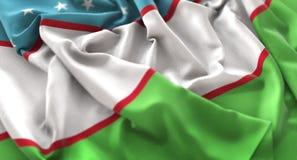 Tir en gros plan admirablement de ondulation hérissé par drapeau de l'Ouzbékistan macro illustration de vecteur