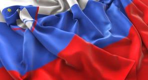 Tir en gros plan admirablement de ondulation hérissé par drapeau de la Slovénie macro images libres de droits