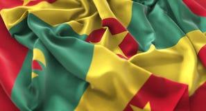 Tir en gros plan admirablement de ondulation hérissé par drapeau du Grenada macro photographie stock