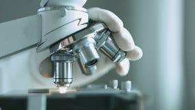 Tir en gros plan de microscope banque de vidéos