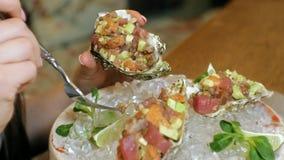 Tir en gros plan : un plat de poisson cru délicieux, goudron saumoné de goudron avec l'avocat dans une coquille d'un plat avec de banque de vidéos