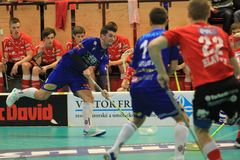 Tir Filip Heczko dans le floorball Photo libre de droits
