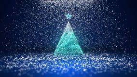Tir grand-angulaire de thème d'hiver pour le fond de Noël ou de nouvelle année avec l'espace de copie Arbre de Noël de la lueur b banque de vidéos