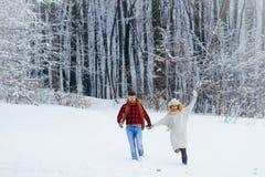 Tir intégral des couples fonctionnants gaiement le long de la forêt couverte de neige pendant les chutes de neige Temps de Noël Photo libre de droits