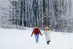 Tir intégral des couples heureux riant et tenant des mains tout en courant le long du pré neigeux pendant les chutes de neige Photo libre de droits