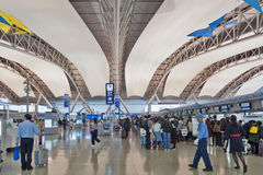Tir intérieur à l'intérieur de terminal de départ de passager, aéroport international de Kansai, Osaka, Japon Images stock
