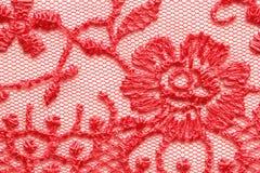 Tir matériel de macro de texture de dentelle rouge lumineuse Photo libre de droits