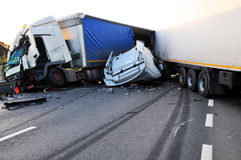 TIR ongeval Stock Foto