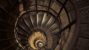 Tir panoramique d'un haut escalier en spirale d'en haut Foyer sur l'avant des escaliers Le concept d'un avenir inconnu banque de vidéos
