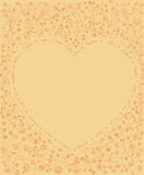 Tiré par la main forme de coeur de schéma avec le cadre de flore et de vigne Images stock
