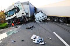TIR-Unfall Lizenzfreie Stockbilder