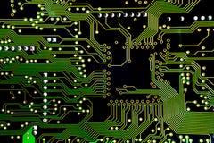 Tir vert de plan rapproché de carte PCB Image libre de droits