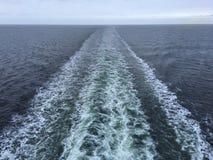 Tira branca após o navio de cruzeiros Imagens de Stock