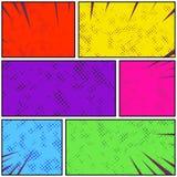 Tira cômica da página do pop art retro colorido brilhante do estilo D abstrato Fotos de Stock Royalty Free