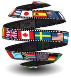 Tira da película que contem bandeiras Fotos de Stock Royalty Free