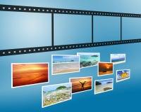tira de la película 3D con los cuadros del nicel Fotografía de archivo