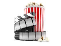 Tira de la película con palomitas Fotografía de archivo libre de regalías