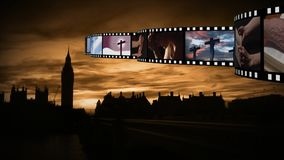 Tira de la película con vídeos y fotografías almacen de video