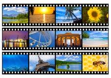 Tira de la película de las fotos o de las imágenes del viaje aislada Fotos de archivo