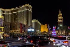 Tira de Las Vegas en la Navidad Imagen de archivo