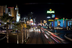 Tira de Las Vegas en la noche Imagen de archivo libre de regalías