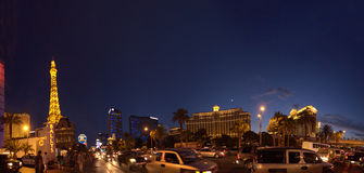 Tira de Las Vegas en la noche Imagen de archivo
