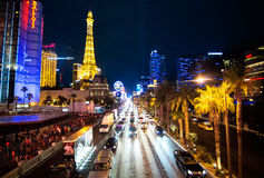 Tira de Las Vegas Nevada na noite Fotografia de Stock Royalty Free