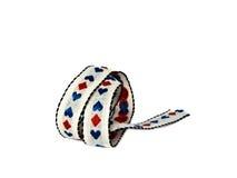 A tira de matéria têxtil com corações azuis Foto de Stock