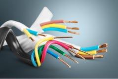 Tira do poder e cabo distribuidor de corrente imagens de stock