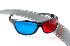 tira dos vidros 3D e do filme de filme Imagens de Stock Royalty Free