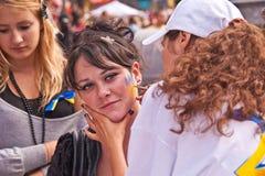 Tira em seu emblema da cara de Ucrânia Fotos de Stock Royalty Free