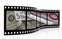 Tira euro de la película del dólar Imagenes de archivo