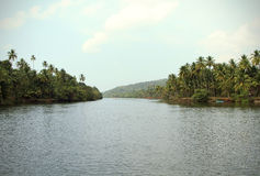 Tiracol river at sunny day, Goa India Royalty Free Stock Images