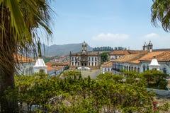 Tiradentes fyrkant - Ouro Preto, Minas Gerais, Brasilien arkivbilder