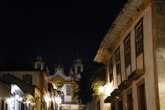 Tiradentes MG widok kościół Santo Antonio i miasto Zdjęcia Stock