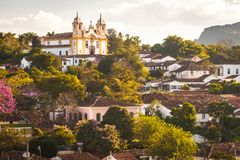 Tiradentes, Minas Gerais-Brazil. Partial view of the historic city of Tiradentes, Minas Gerais, Brazil. In the background the Mother Church stock photography