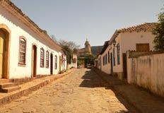 Tiradentes´s street. Stone street and Baroque Church Matriz de Santo Antonio - Tiradentes - Minas Gerais - Brazil Royalty Free Stock Photo