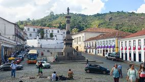Historic city of Ouro Preto in Minas Gerais, Brazil, March 25, 2016, World heritage, View of the colonial mansionsTiradentes Squar. Tiradentes Square in Ouro Stock Photos