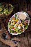 Tirado de la ensalada verde con el rábano y el huevo duro en el pla blanco Imagenes de archivo