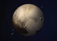 Tirado de Plutón tomado de espacio abierto collage Imagen de archivo libre de regalías