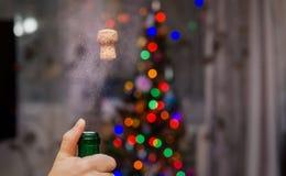 Tirado del champán en el Año Nuevo Fotos de archivo libres de regalías